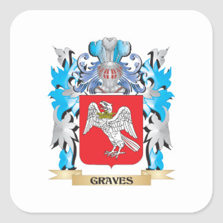 Graves Coat of Arms - Family Crest Square Sticker