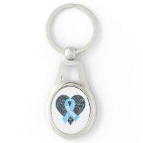 Graves Disease Believe Ribbon Heart Silver-Colored Oval Metal Keychain