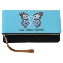 Graves Disease with Butterfly Awareness Ribbon Clutch