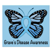 Graves Disease with Butterfly Awareness Ribbon Poster