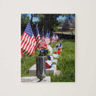 Graves Dressed with Memorial Day Flags Jigsaw Puzzle