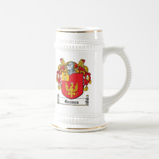 Graves Family Crest 18 Oz Beer Stein