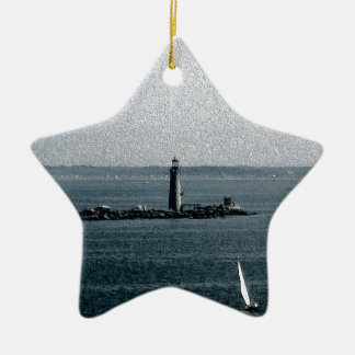 Graves Light in Boston Harbor Ceramic Ornament