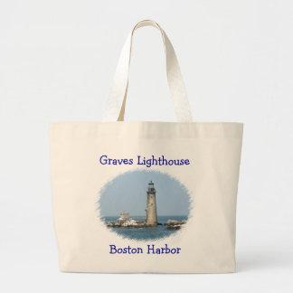 Graves Lighthouse Boston Harbor Jumbo Tote Bag