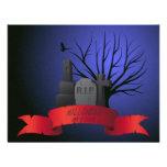 Gravestone and red banner invitation