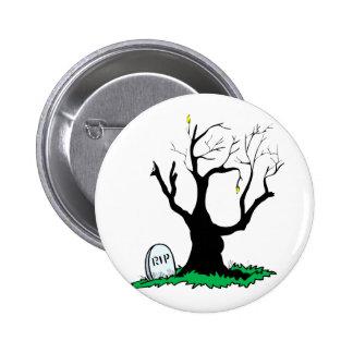 Gravestone dead tree big trunk. pinback button