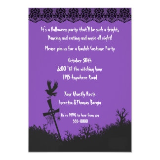 Graveyard and Black Lace Halloween Party 5x7 Paper Invitation Card