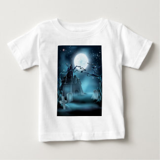 Graveyard and Castle Halloween Background Shirts