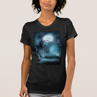 Graveyard and Castle Halloween Background Tee Shirts