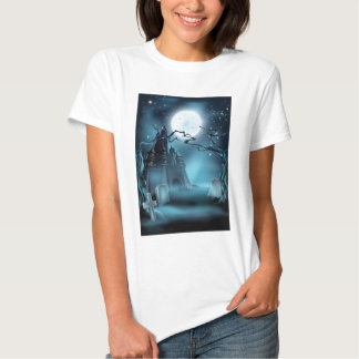 Graveyard and Castle Halloween Background Tshirt