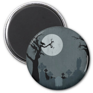 Graveyard and Full Moon for Halloween 2 Inch Round Magnet