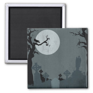 Graveyard and Full Moon for Halloween 2 Inch Square Magnet