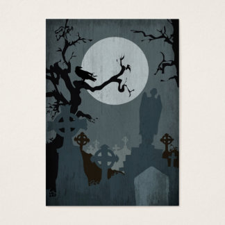 Graveyard and Full Moon for Halloween Business Card
