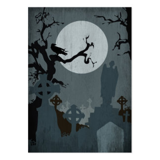 Graveyard and Full Moon for Halloween Business Card Template
