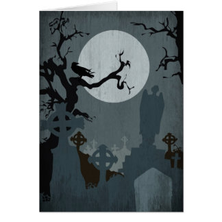 Graveyard and Full Moon for Halloween Greeting Card