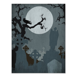 Graveyard and Full Moon for Halloween 4.25x5.5 Paper Invitation Card