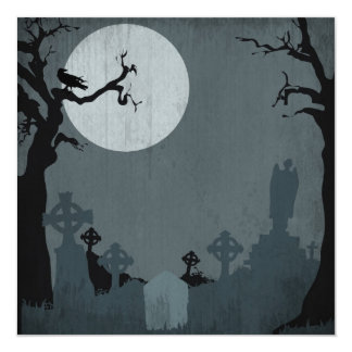 Graveyard and Full Moon for Halloween 5.25x5.25 Square Paper Invitation Card