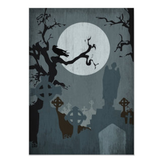 Graveyard and Full Moon for Halloween 5x7 Paper Invitation Card