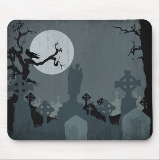 Graveyard and Full Moon for Halloween Mouse Pad