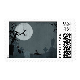 Graveyard and Full Moon for Halloween Postage Stamps