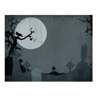 Graveyard and Full Moon for Halloween Postcard