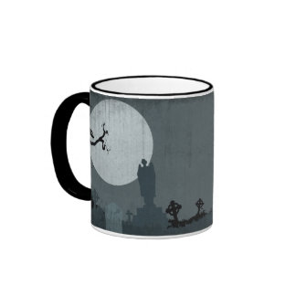 Graveyard and Full Moon for Halloween Ringer Coffee Mug