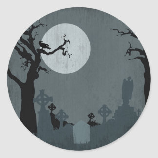 Graveyard and Full Moon for Halloween Stickers