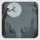 Graveyard and Full Moon for Halloween Square Sticker