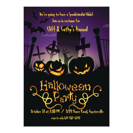 Graveyard Antics Halloween Invitation