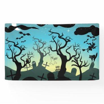 Halloween Themed Graveyard black, aqua, yellow Halloween custom Banner