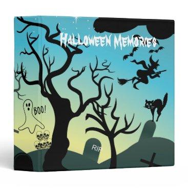 Halloween Themed Graveyard black, aqua, yellow Halloween custom Binder