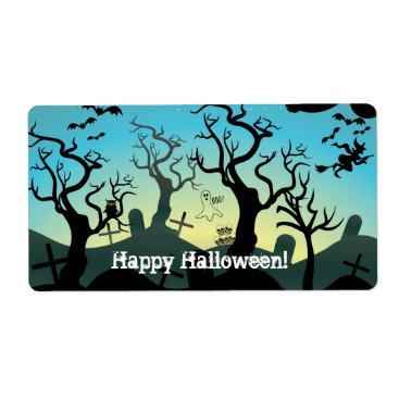 Halloween Themed Graveyard black, aqua, yellow Halloween custom Label