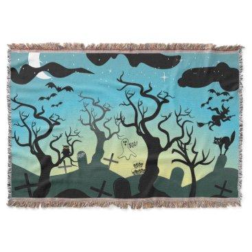 Halloween Themed Graveyard black, aqua, yellow Halloween custom Throw Blanket