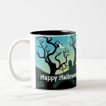 Halloween Themed Graveyard black, aqua, yellow Halloween custom Two-Tone Coffee Mug