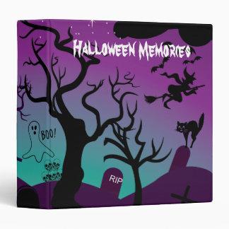 Graveyard black, purple, turquoise Halloween 3 Ring Binder