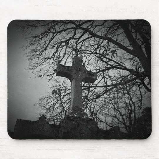 Graveyard cross picture mouse pad