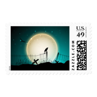 Graveyard Crow Moon Halloween Postage Stamps