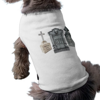 GRAVEYARD EPITAPHS FUNNY TOMBSTONE PRINT DOGGIE TEE