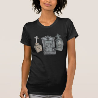 GRAVEYARD EPITAPHS FUNNY TOMBSTONE PRINT TEE SHIRT