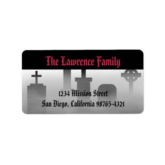Graveyard fog creepy cemetery Halloween address Label