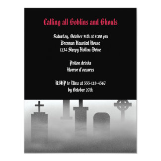 Graveyard fog creepy Gothic dark Halloween party Card
