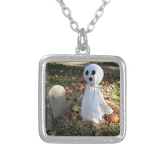 Graveyard, Ghost & Pumpkin Silver Plated Necklace