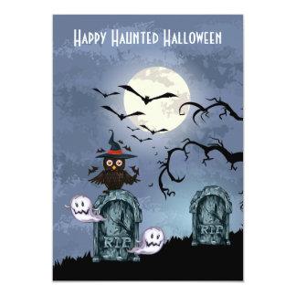 Graveyard Ghosts Owl Full Moon Halloween Card