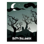 Graveyard Halloween Greeting  Postcard