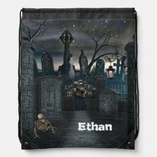 Graveyard Halloween Party Drawstring Bag