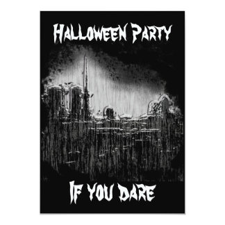 graveyard,  Halloween Party, If you dare 13 Cm X 18 Cm Invitation Card