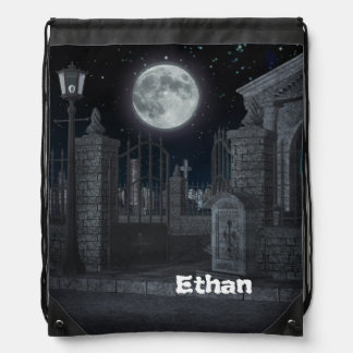Graveyard Halloween Party Drawstring Bags