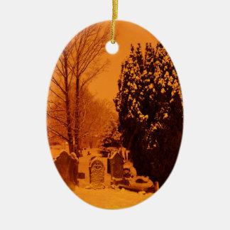 Graveyard in the snow ceramic ornament