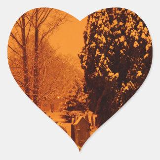 Graveyard in the snow heart sticker