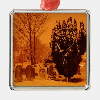 Graveyard in the snow metal ornament